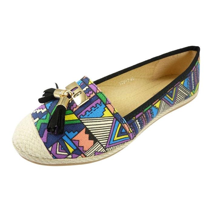 Ballerines espadrilles chaussures femme, multicolore à pompons noir Chaussmaro