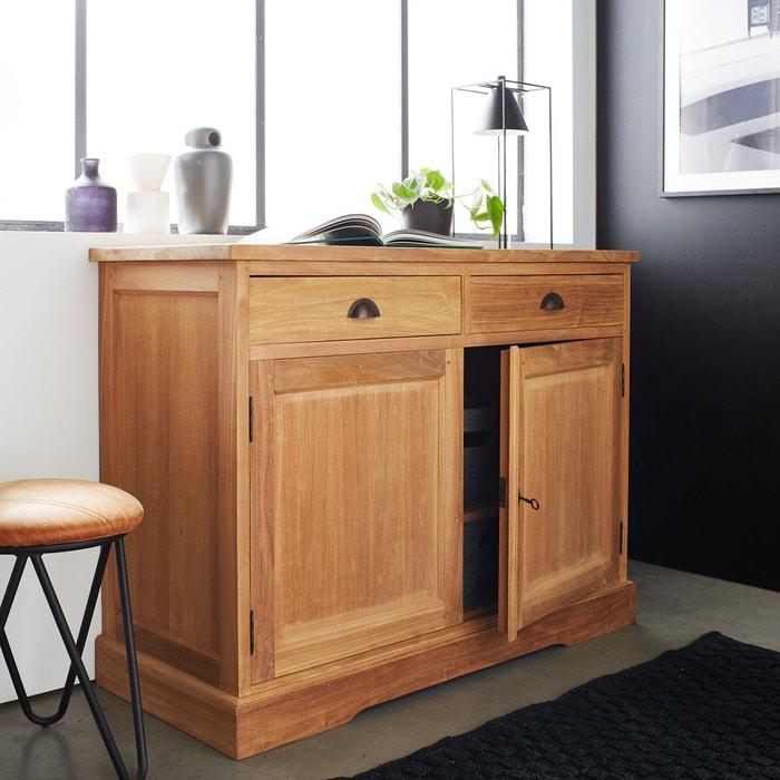 Buffet en bois de TECK BRUT QUALITE PREMIUM - 2 portes 2 tiroirs BOIS DESSUS BOIS DESSOUS