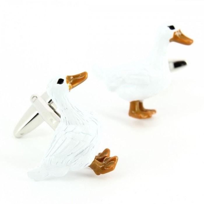 Bouton de manchette, oies blanches blanc Cravate Avenue Signature | La Redoute
