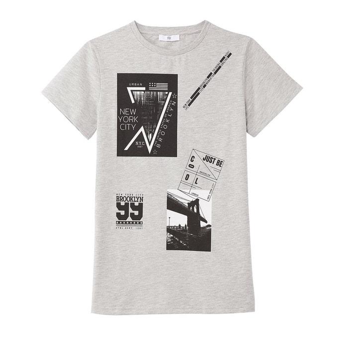 57f2fc913ee Tee shirt imprimé 10 - 16 ans gris chiné La Redoute Collections