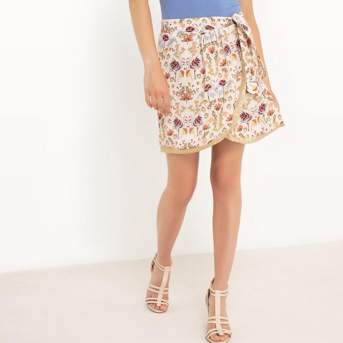 afbeelding Bedrukte rok, goudkleurig plissé detail MADEMOISELLE R