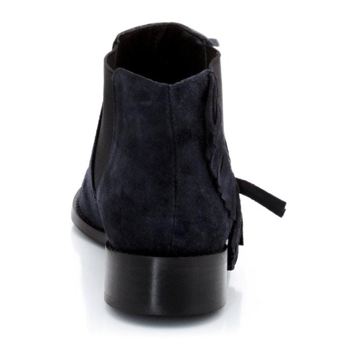 Boots croûte de cuir, franges La Redoute Collections