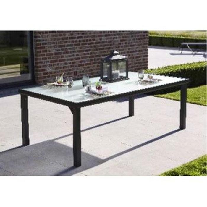 Table de jardin blacksun 8 places noire couleur unique for Table de jardin la redoute