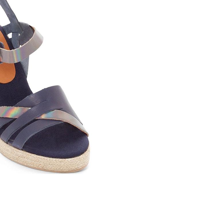 Sandales cuir talon compensé astrid bleu marine gris Pare Gabia