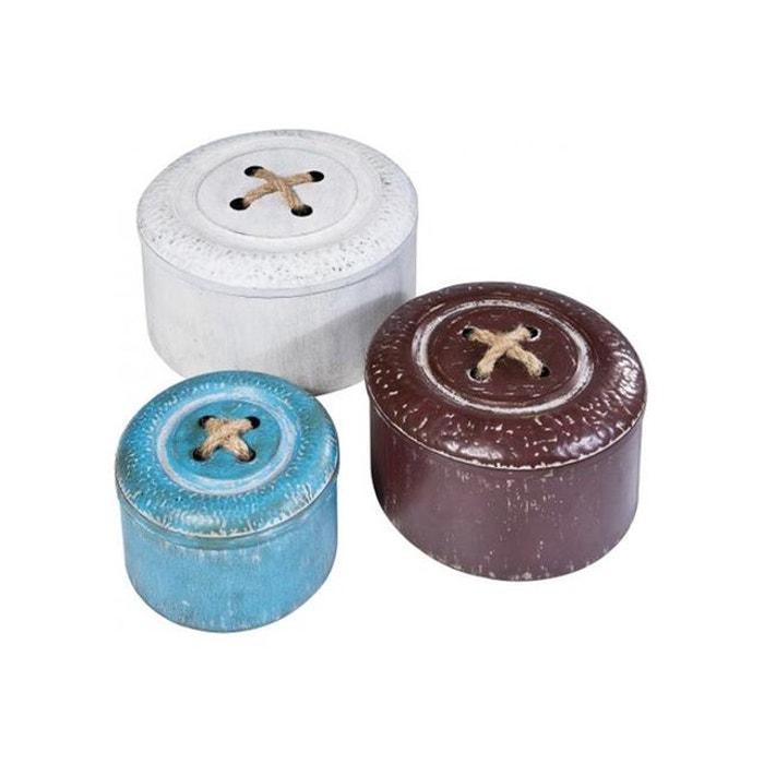Set de 3 bo tes boutons couleur unique kare design la for Boite a couture la redoute