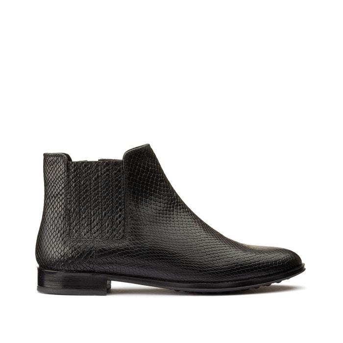 Vente Femme chaussures Boots ajourées en cuir noir Jonak