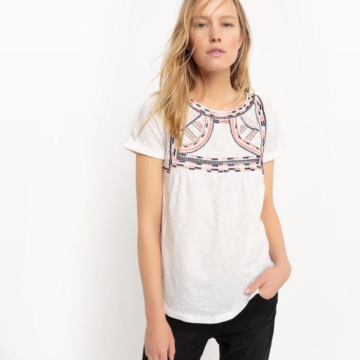afbeelding T-shirt met borduursel, korte mouwen La Redoute Collections