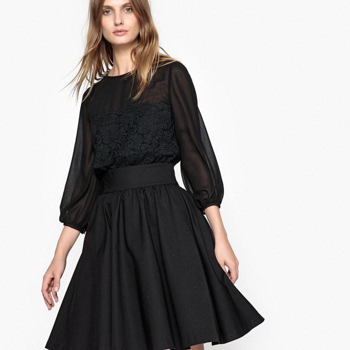 a188a71d5 Vestido evasé con bonita espalda, encaje y transparencia negro La Redoute  Collections | La Redoute