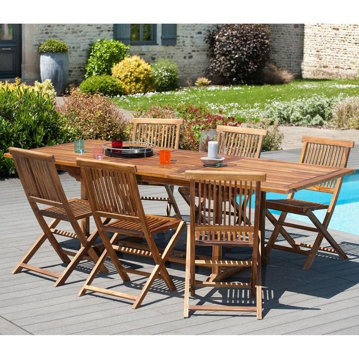 Table de jardin extensible rectangulaire en bois de teck massif huilé  180/240x100cm MACAO 10 personnes