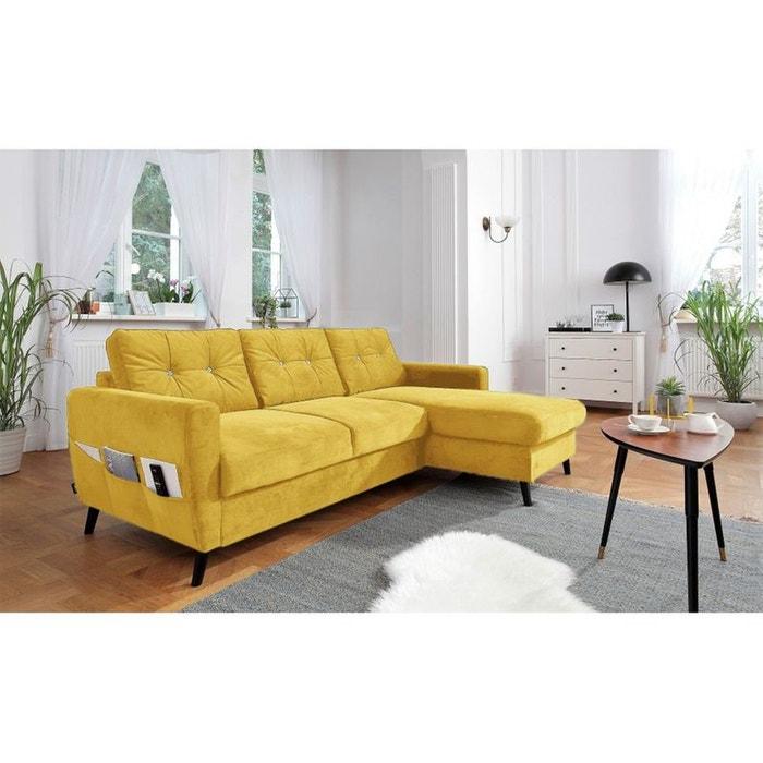 canap d 39 angle droit scandi convertible coffre dition limit e jaune jaune bobochic la redoute. Black Bedroom Furniture Sets. Home Design Ideas