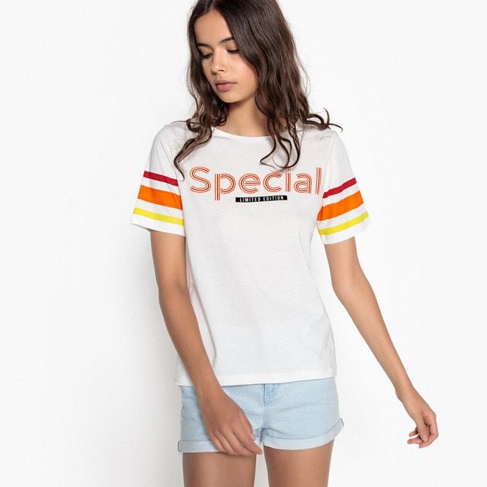 T-shirt con motivo e con maniche corte rigate  La Redoute Collections image 0