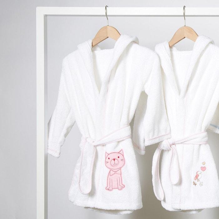 peignoir de bain enfant capuche motif chaton blanc i fil home la redoute. Black Bedroom Furniture Sets. Home Design Ideas