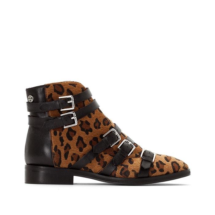 Izy 2 Leopard Print Ankle Boots with Buckled Straps  LE TEMPS DES CERISES image 0