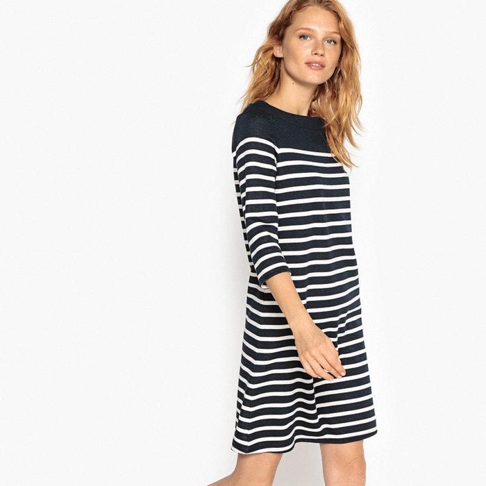 afbeelding Gestreepte halflange rechte jurk La Redoute Collections