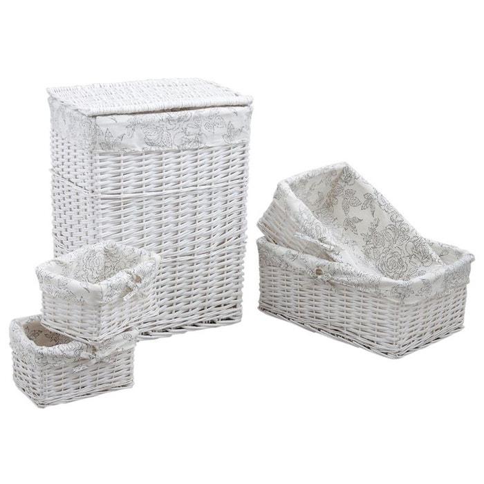 panier linge avec 4 corbeilles blanc aubry gaspard la. Black Bedroom Furniture Sets. Home Design Ideas