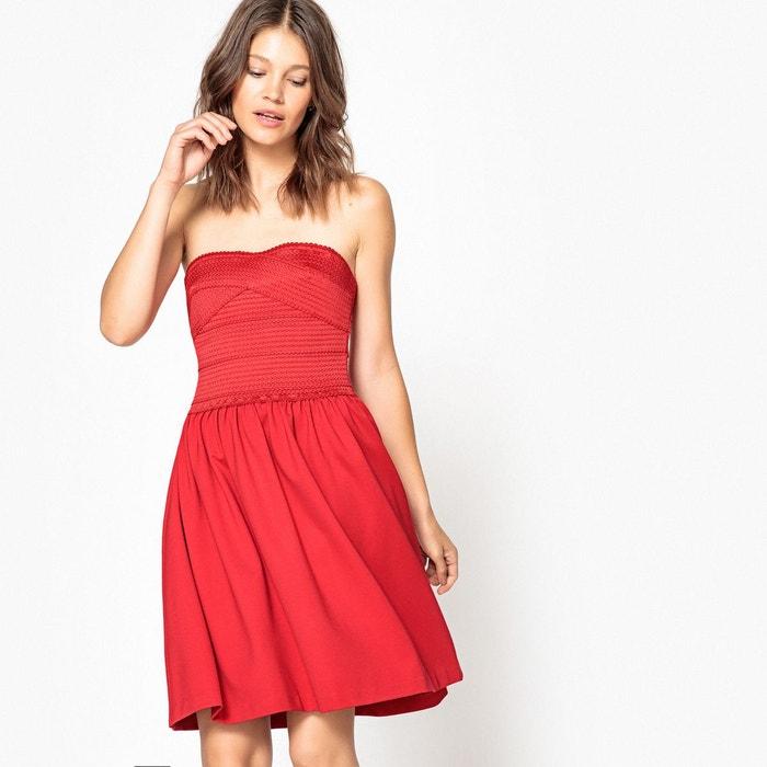 robe bustier uni courte sans manches rouge mademoiselle r la redoute. Black Bedroom Furniture Sets. Home Design Ideas