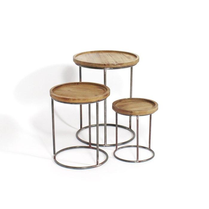 lot de trois tables basses gigognes kc32 1801 4 marron. Black Bedroom Furniture Sets. Home Design Ideas