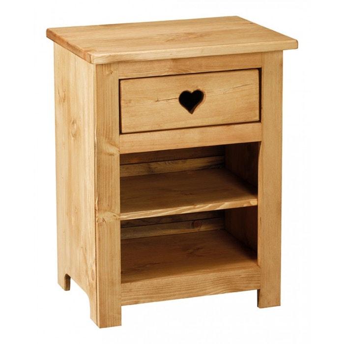 chevet pin massif 1 tiroir 2 niches teint miel couleurs des alpes la redoute. Black Bedroom Furniture Sets. Home Design Ideas