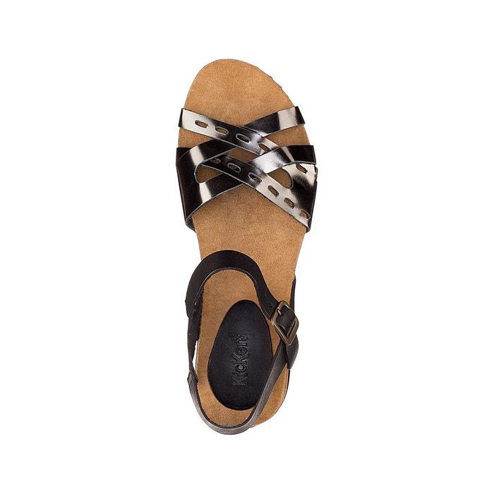 Sandales compensées cuir tokanne noir/argent Kickers
