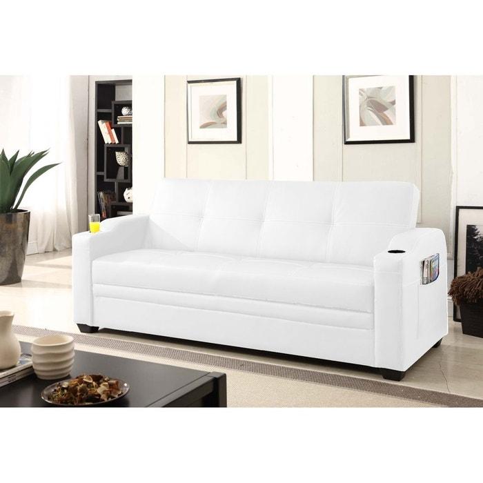 faro canap 3 personnes convertible lit avec coffre de rangement blanc concept usine la redoute. Black Bedroom Furniture Sets. Home Design Ideas