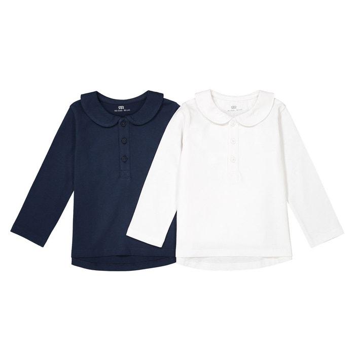 T-shirt manches longues col claudine 1 mois -3 ans bleu marine blanc La  Redoute Collections   La Redoute b586bcb74e3