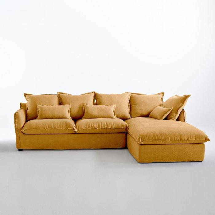 canap d 39 angle fixe en lin froiss bultex odna la redoute interieurs la redoute. Black Bedroom Furniture Sets. Home Design Ideas