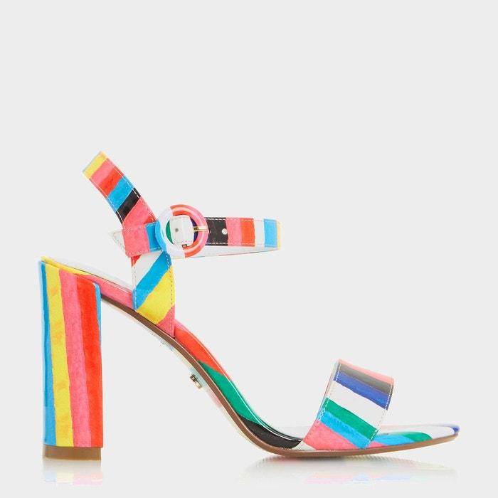 Sandales à talons carrés et rayures style rio - marraca multicolore synthetic patent Dune London