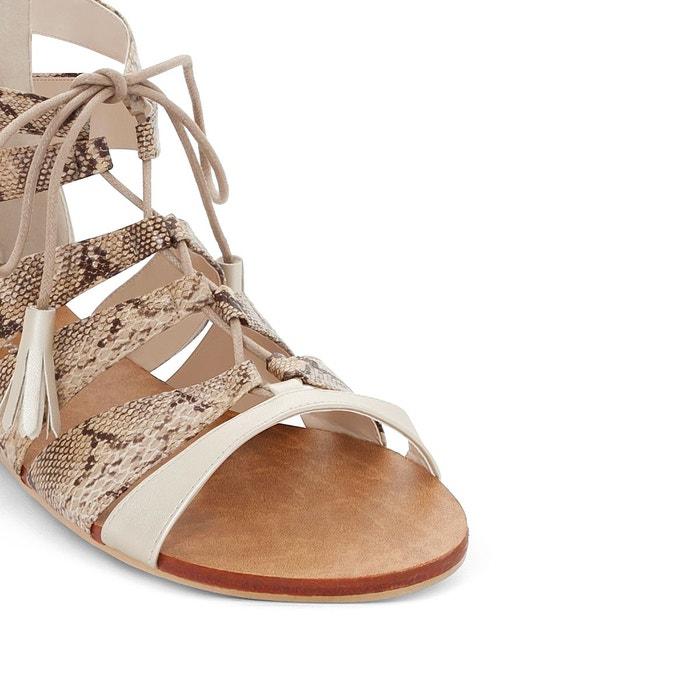 Sandales bicolores pied large 38-45 beige Castaluna ...