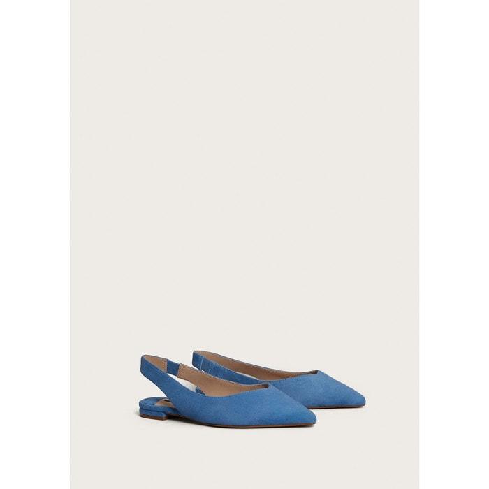 Chaussures en daim ouvertes à larrière bleu Violeta By Mango