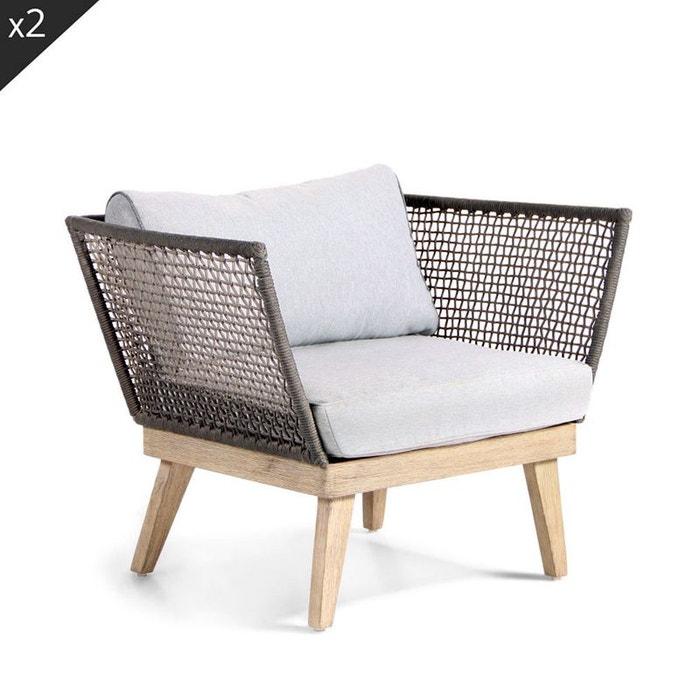 Lot de 2 fauteuils de jardin bois et corde m kong gris - Fauteuil de jardin la redoute ...