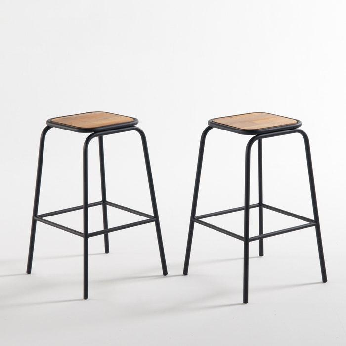 set of 2 hiba bar stools 65cm high black la redoute interieurs la redoute. Black Bedroom Furniture Sets. Home Design Ideas
