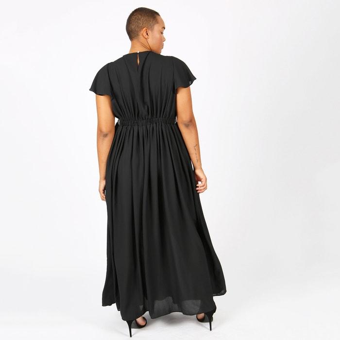 liso manga LOVEDROBE largo y plisado larga Vestido gn7qES