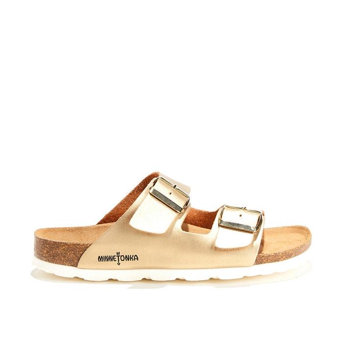 Kaska Gold Flat Sandals with Metal Buckle  MINNETONKA image 0