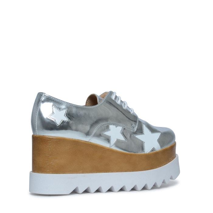 Chaussures à lacets métallisées avec étoiles blanches argent Sacha