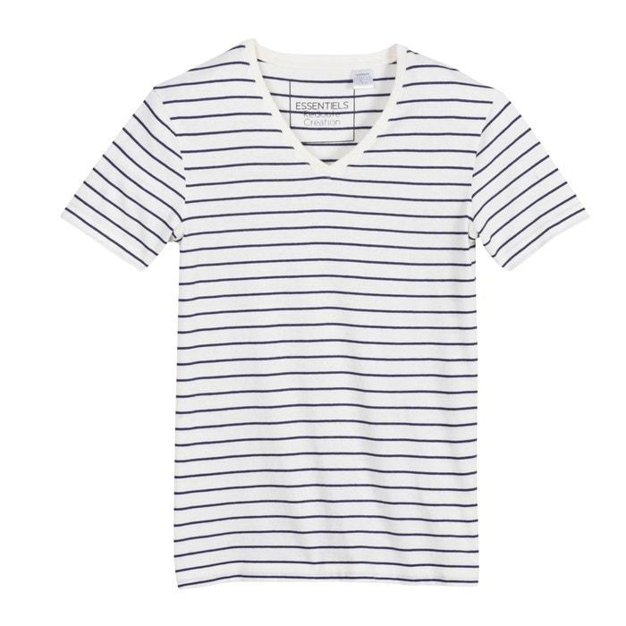 Image T-shirt w paski z dekoltem w kształcie litery V, krótki rękaw. R édition