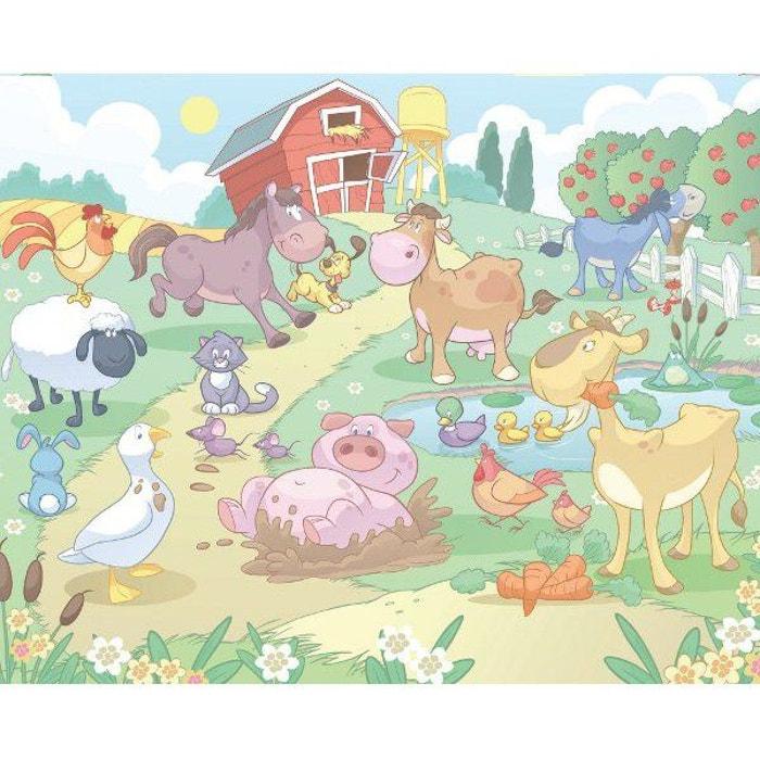 Papier Peint Bebe Animaux De La Ferme Walltastic 305x244 Cm