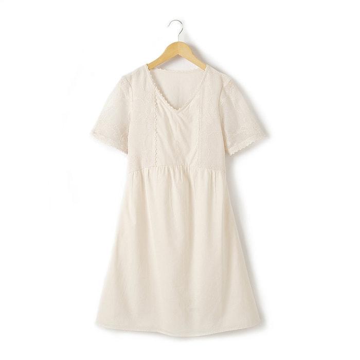 Short Cotton Dress with Lace Trim