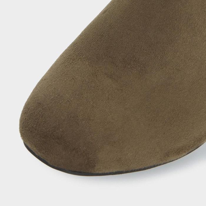 Bottes au genou à talons carrés - timmi vert micro fibre Head Over Heels By Dune
