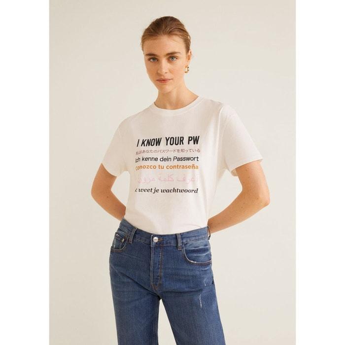 58c1a32b23682e Mango Message Coton Blanc Shirt La T Redoute WInq61vWH