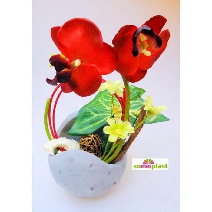composition florale avec orchid e fleur artificielle vase original en pierre cr ation haut. Black Bedroom Furniture Sets. Home Design Ideas
