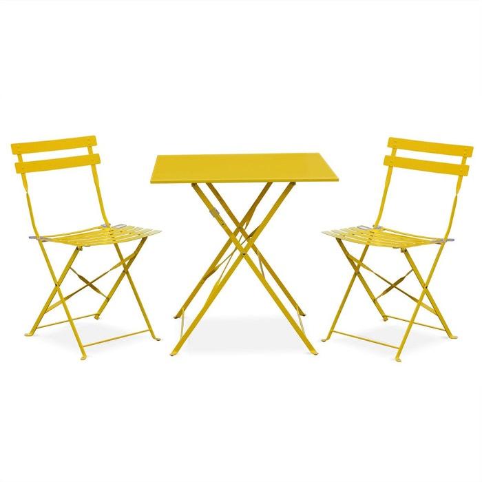 Salon de jardin bistrot pliable emilia carr jaune table 70x70cm avec deux c - La redoute salon de jardin ...