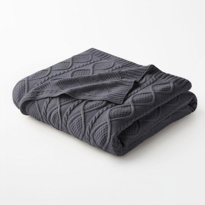 plaid tricot aker gris anthracite la redoute interieurs la redoute. Black Bedroom Furniture Sets. Home Design Ideas