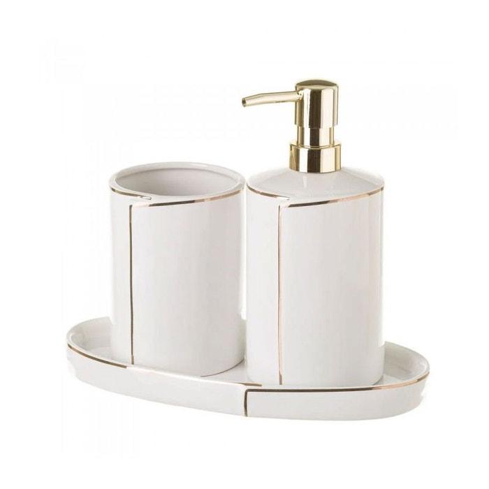 Set Salle De Bain Ceramique Blanc Et Or Distributeur Savon