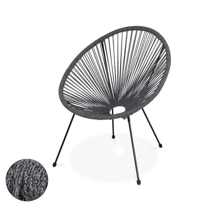 fauteuil acapulco forme d'oeuf en corde - gris chiné - fauteuil 4