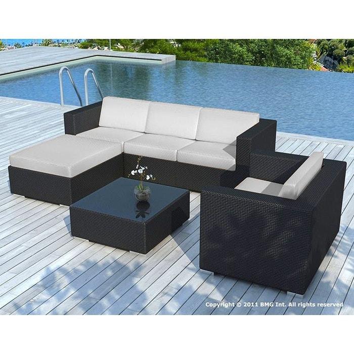 Salon de Jardin COPACABANA 6 pièces en résine noire et coussins tissu blanc  écru + un jeu de housse tissu gris