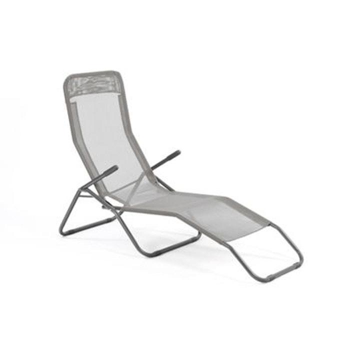 transat chaise longue siesta m tal poxy et toile gris clair gris hesperide la redoute. Black Bedroom Furniture Sets. Home Design Ideas
