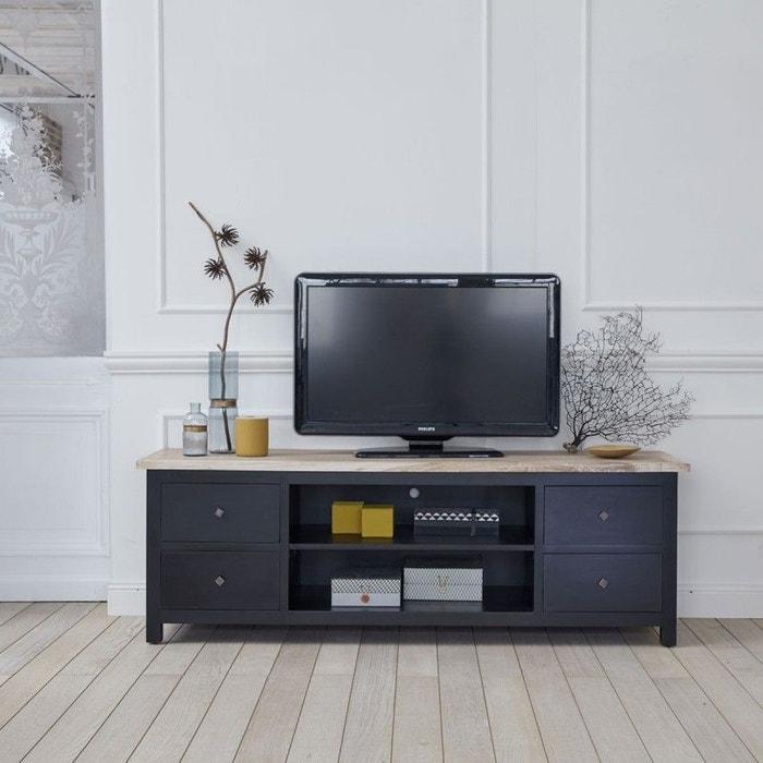 meuble tv en bois d 39 acajou et teck 4 tiroirs acajou bois dessus bois dessous la redoute. Black Bedroom Furniture Sets. Home Design Ideas