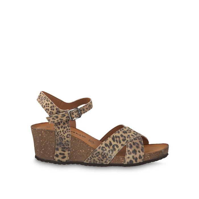 721b6e7dae Scola leather sandals , leopard print, Tamaris | La Redoute