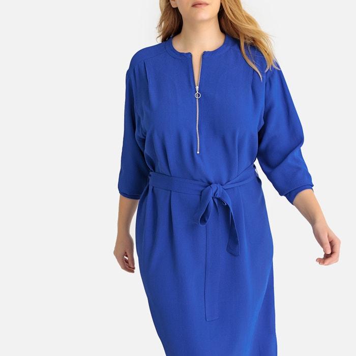 Manches 34 Longueur Longues Robe Droite Bleu Castaluna Zippée UzqEw