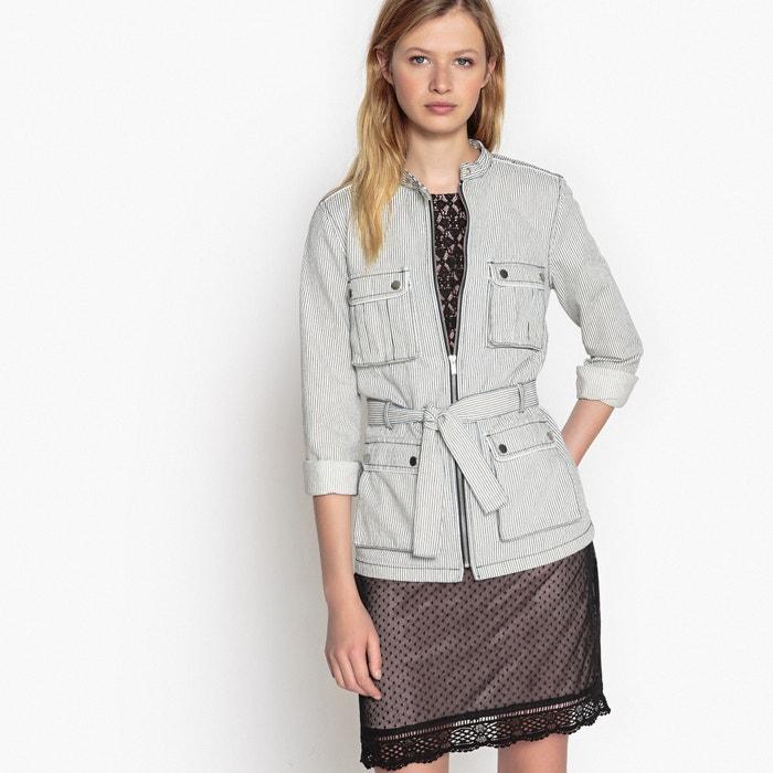 Striped Denim Jacket With Tie Waist La Redoute Collections La Redoute